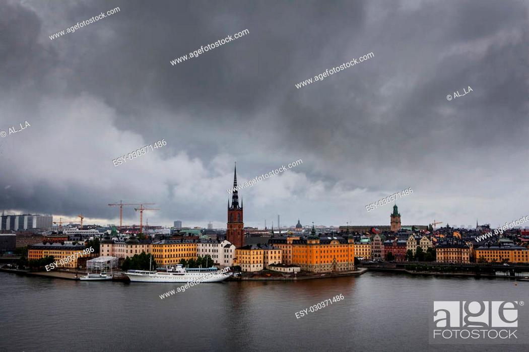 Stock Photo: Scenic dramatic scenery of the Old Town in Stockholm, Sweden.
