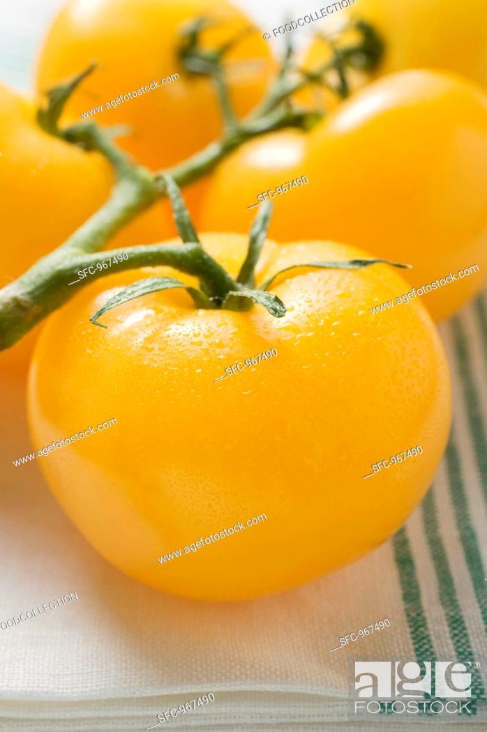Stock Photo: Five yellow cherry tomatoes on tea towel.