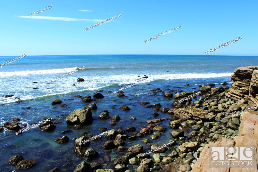 Stock Photo: The Rocky Intertidal Zone at Point Loma, in San Diego, California, USA.