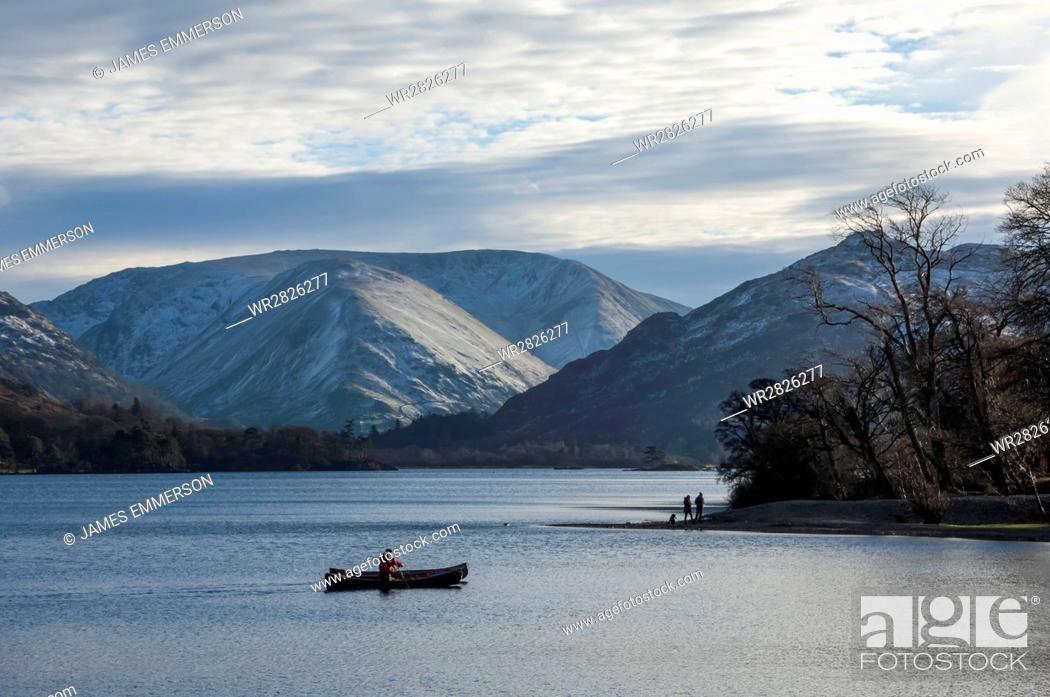 Stock Photo: Canoeists, Ullswater, Lake District National Park, Cumbria, England, United Kingdom, Europe.