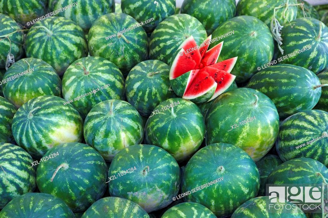 Stock Photo: Watermelons dislayed on Tuesday Market in Fethiye  Province of Mugla, Turkey.