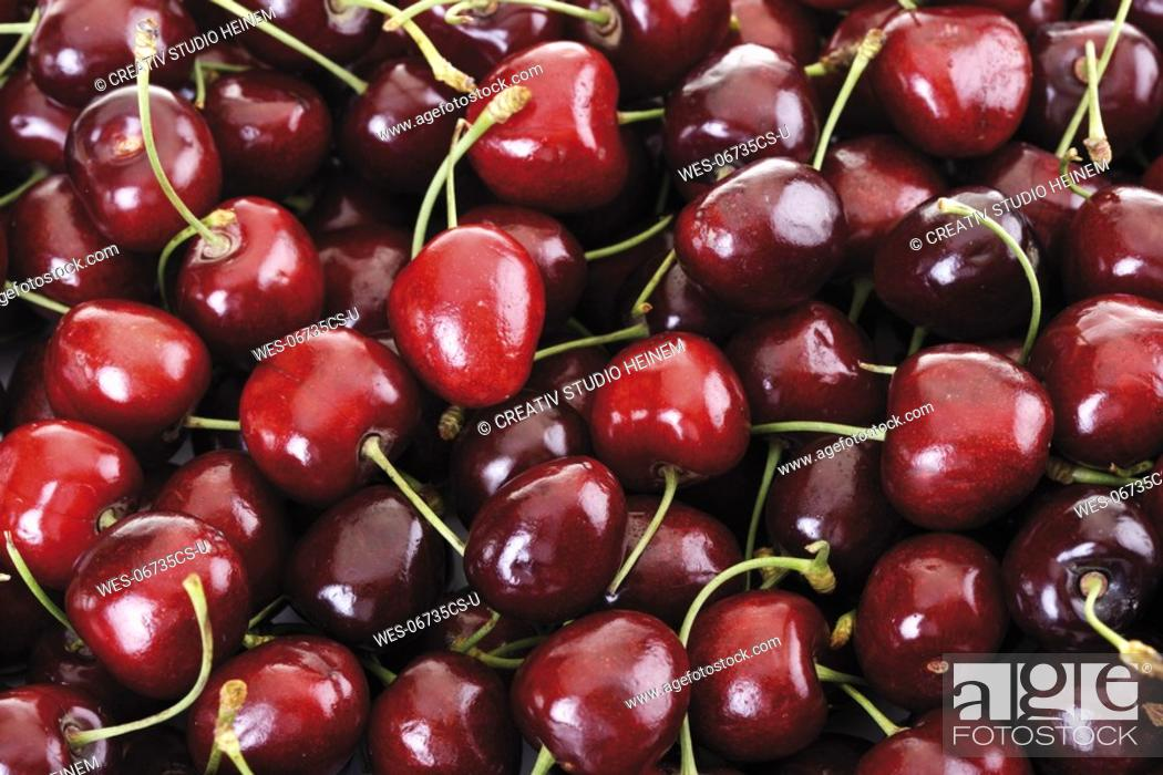 Stock Photo: Fresh cherries close-up, full frame.