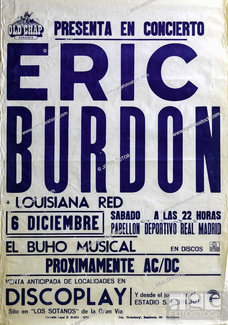 Imagen: Eric Burdon, AC/DC tour Madrid 1980, Musical concert poster.