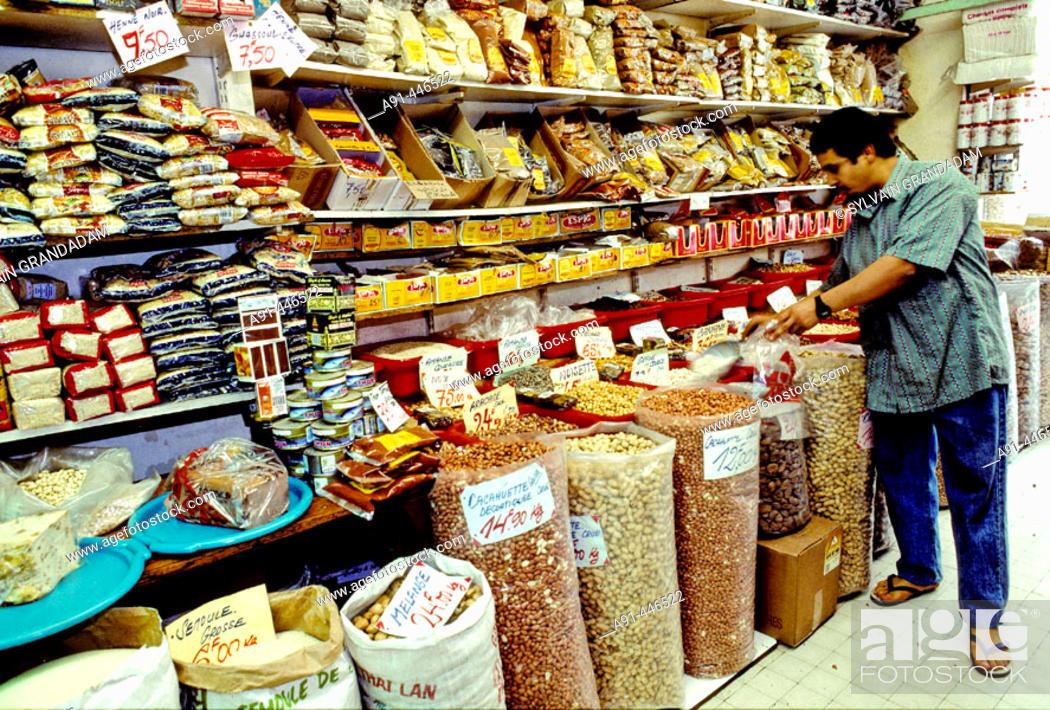 Stock Photo: Shop at Le Panier quarter, Marseille. Bouches-du-Rhône, France.