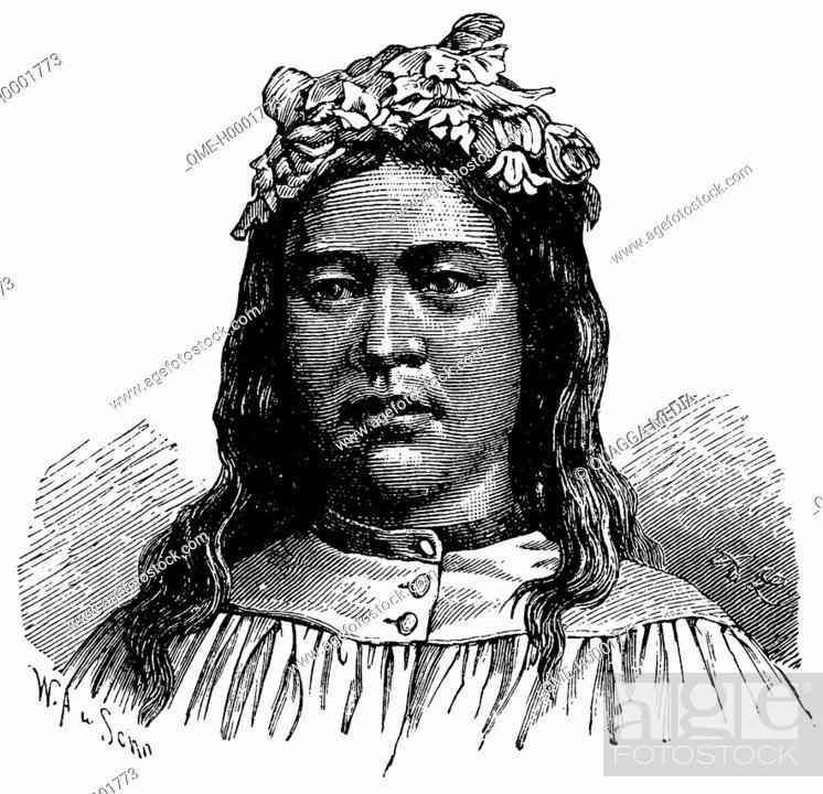 Stock Photo: Portrait of a Tahitian woman, woman from Tahiti.