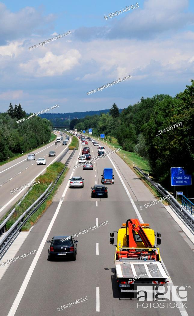 Stock Photo: Traffic on the highway. Bavaria, Germany.