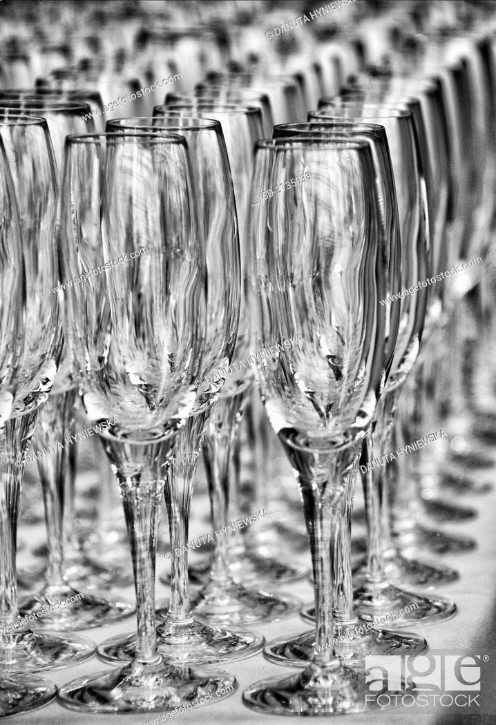 Stock Photo: champagne glasses ready for a big party.