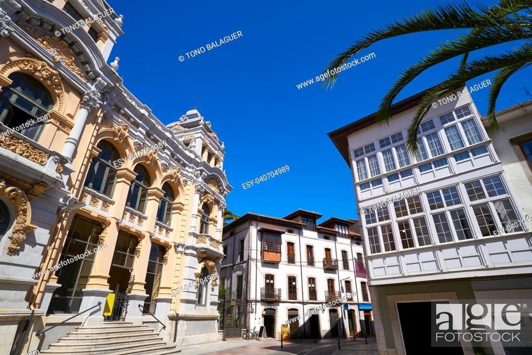 Stock Photo: Llanes post office correos building in Asturias of Spain.