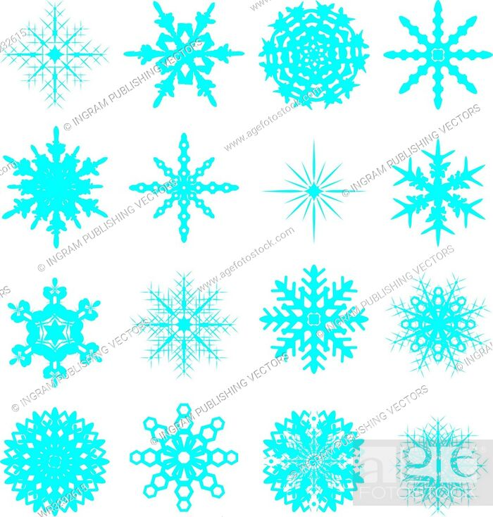 Vector: sixteen snowflake in blue with different variations ideal to be placed on your own artwork.