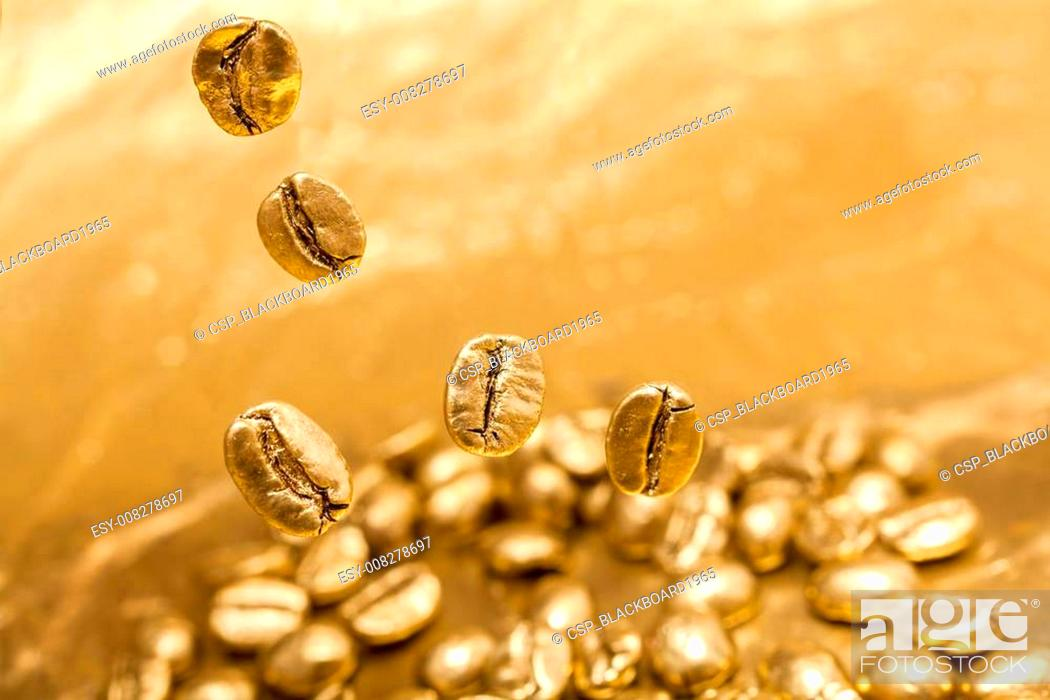 Golden Cafe Coffee Beans Stock Photo Picture And Low