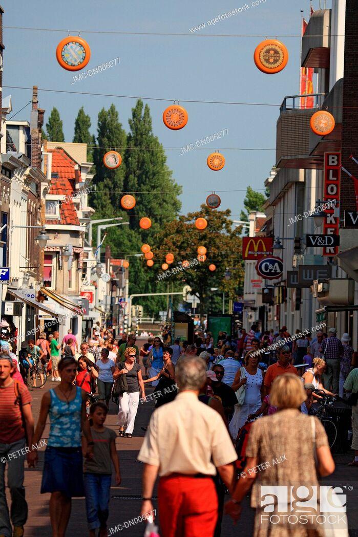 Stock Photo: The Netherlands, South Holland, Gouda, pedestrian street.