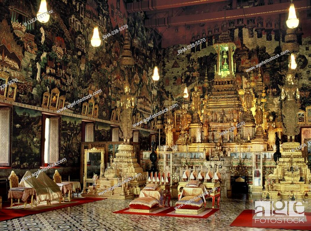 Stock Photo: Interior of the Chapel of the Emerald Buddha Wat Phra Kaew, Royal Palace, Bangkok, Thailand, Southeast Asia, Asia.