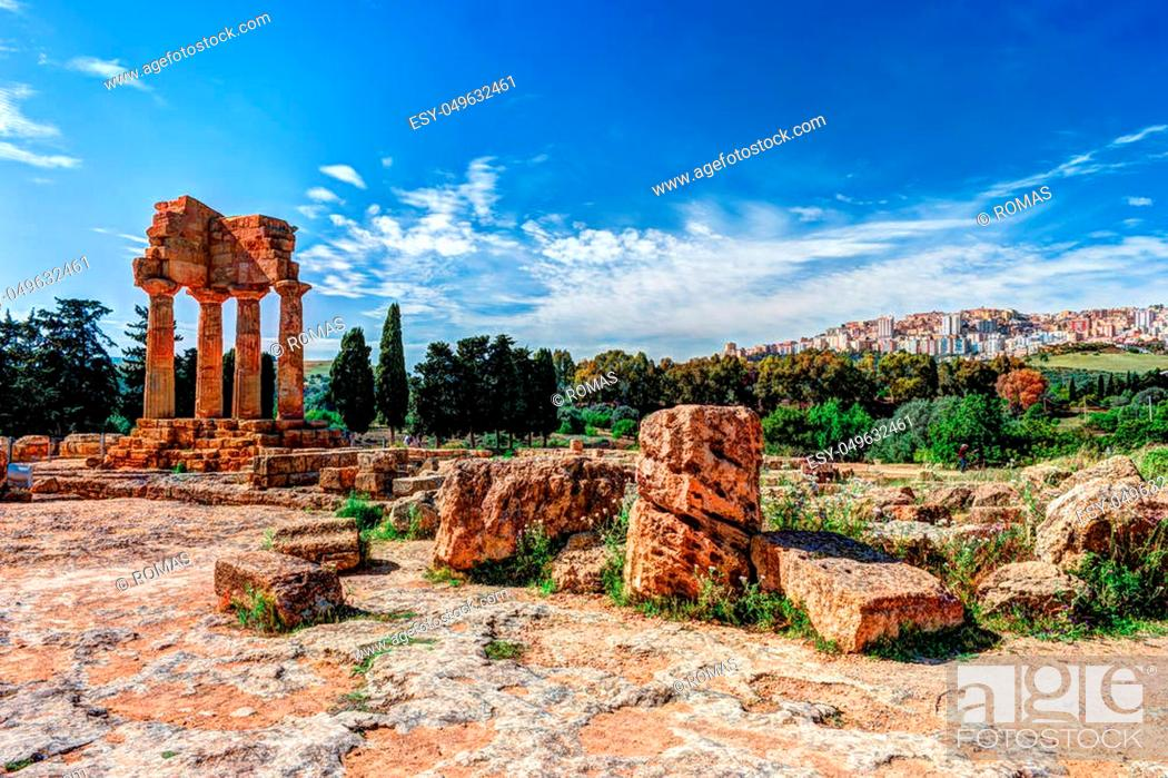 Stock Photo: Agrigento, Sicily. Temple of Castor and Pollux one of the greeks temple of Italy, Magna Graecia. The ruins are the symbol of Agrigento city.