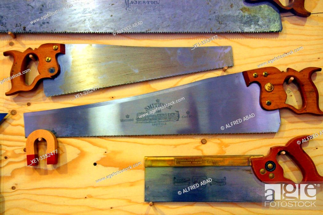Stock Photo: hand saws of carpenter, industrial polygon, plaza del Nou, Zona Franca, Barcelona, Catalonia, Spain.