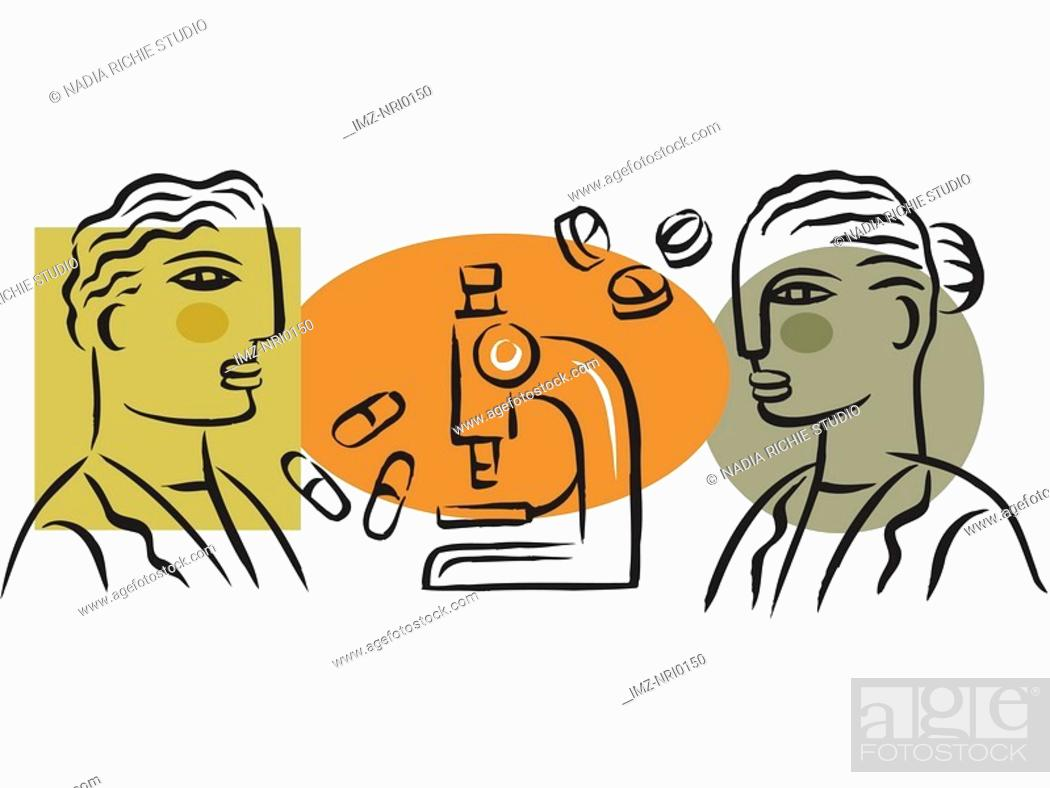 Stock Photo: Illustration of workers at a pharmaceutical company.
