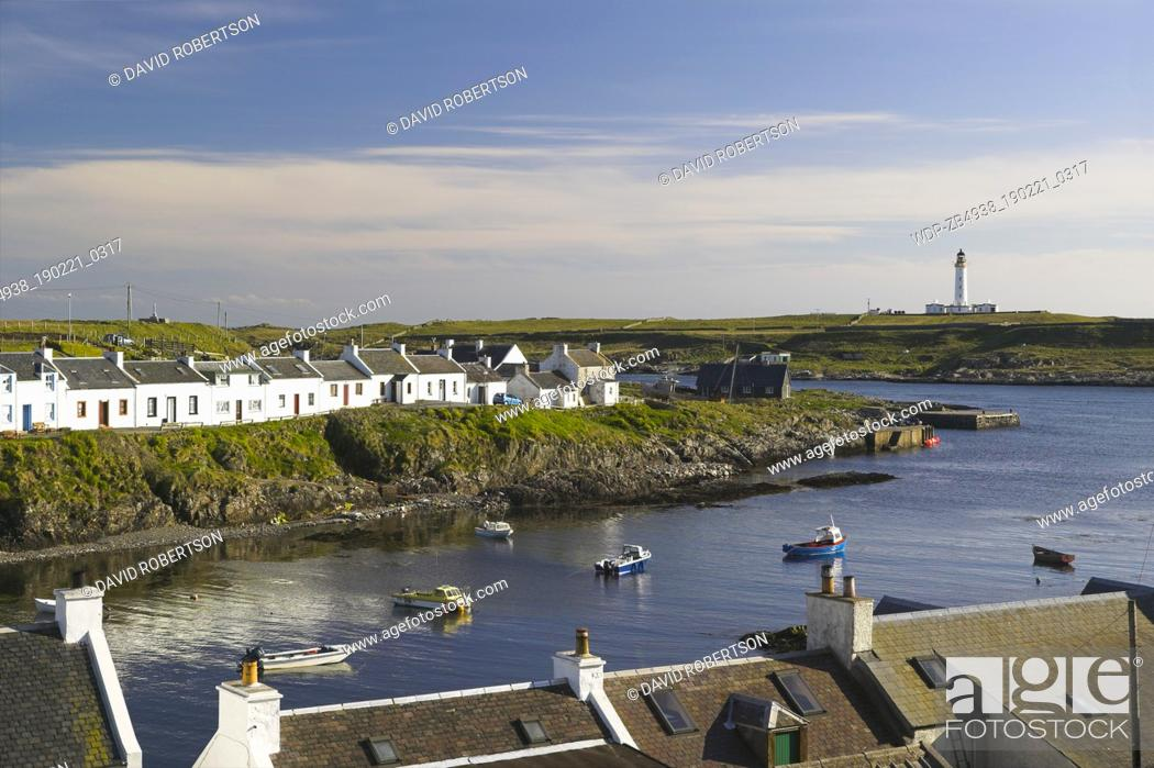 Stock Photo: Portnahaven and the lighthouse on the Isle of Orsay, Isle of Islay, Argyll and Bute, Scotland.
