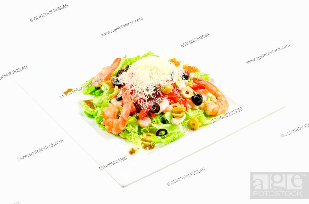 Stock Photo: tasty seafood salad.