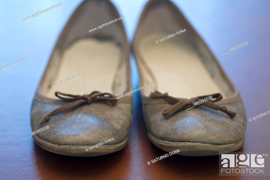 Stock Photo: front view of female shoes.