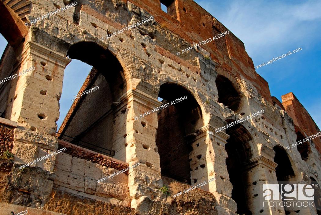 Stock Photo: The Colosseum, originally the Flavian Amphitheatre, Rome, Lazio, Italy, Europe.