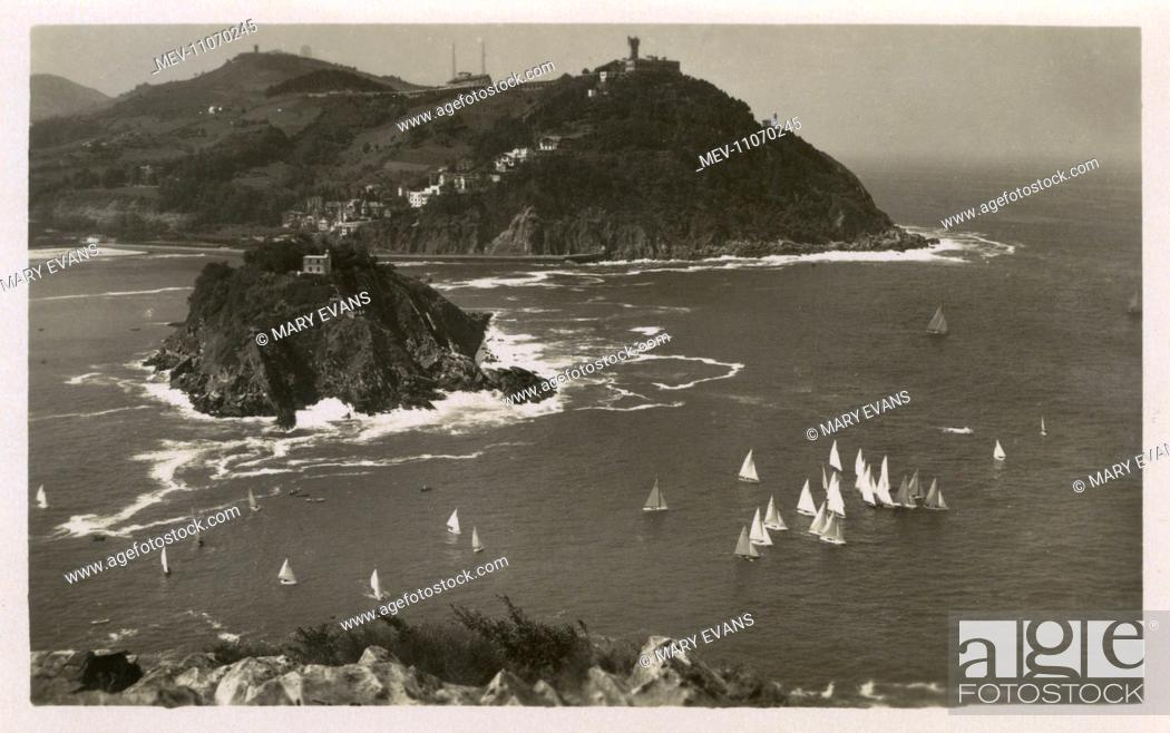Stock Photo: Santa Clara Island and Mont Igueldo - San Sebastian, Spain.