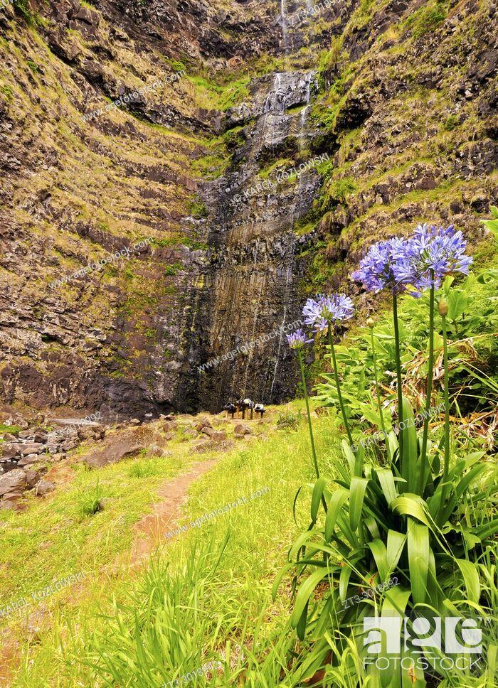 Imagen: Cascata de Aveiro, waterfall, Maia, Santa Maria Island, Azores, Portugal.