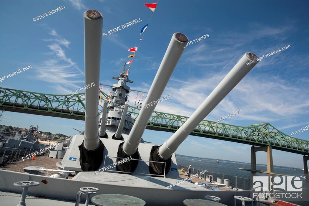 Stock Photo: Battleship Massachusetts, Fall River, MA Battleship Cove, Braga bridge in background, U.S.A.