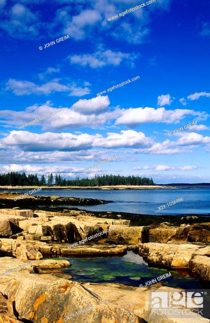 Stock Photo: Tidal pools along rocky coastline, Mt Desert Island, Maine.