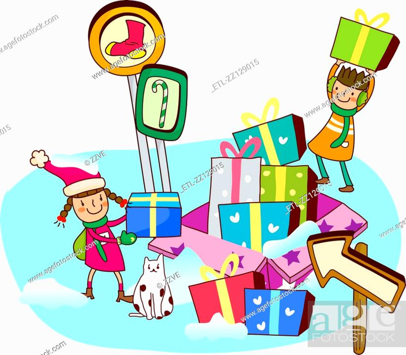 Stock Photo: Two girls with Christmas presents.