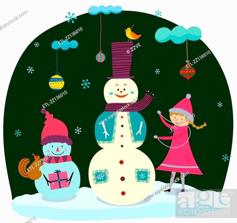 Stock Photo: Snowman and girl.