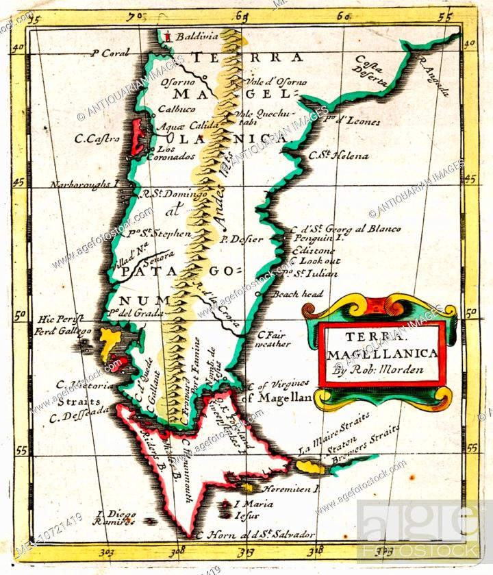 Cape Horn On South America Map.17th Century Map Of Terra Magellanica South America Showing The