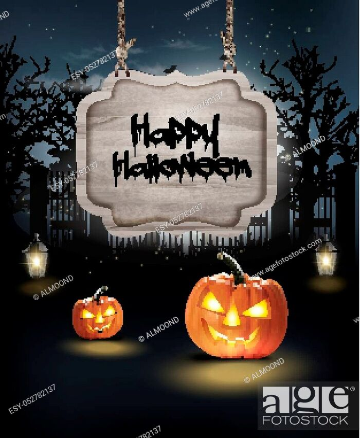 Stock Vector: Halloween spooky background. Vector.