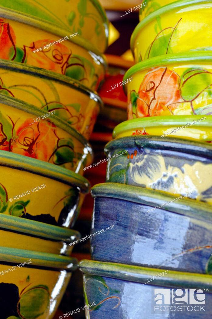 Stock Photo: Ceramic bowls. Provence. France.