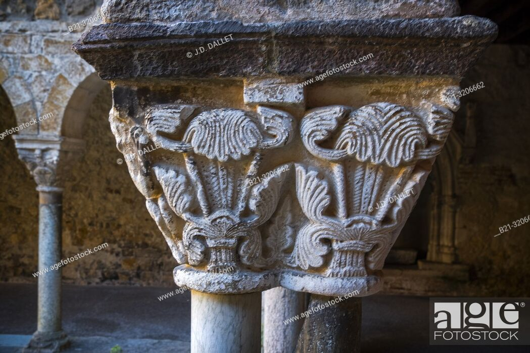 Stock Photo: France, Occitanie, Arriege, detail of a column at the cloister (11th Century) of the cathedrale at Saint Ligier.