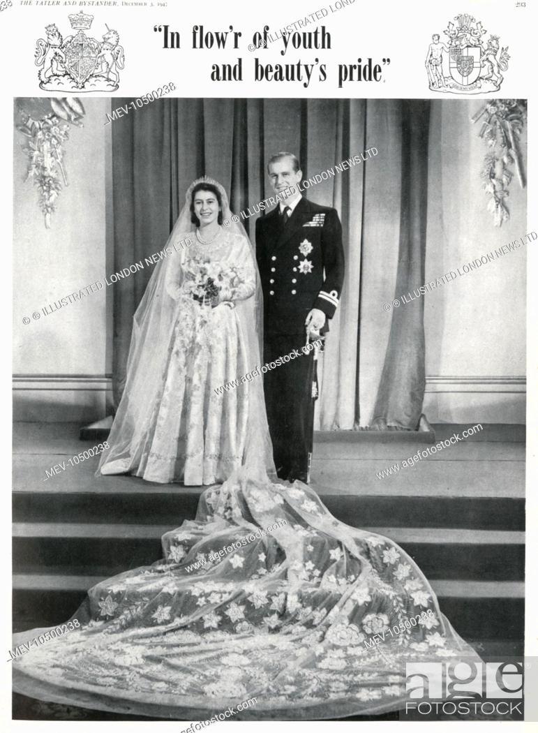 Princess Elizabeth Queen Elizabeth II and Prince Philip, Stock ...