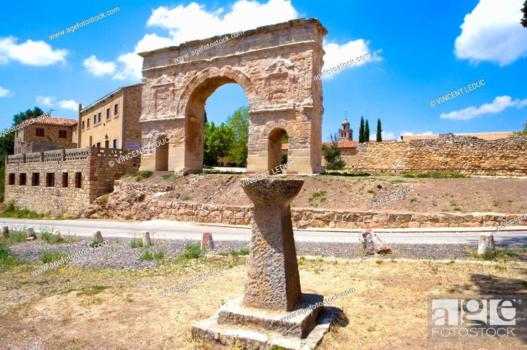 Stock Photo: Spain - Castile and Leon - Province of Soria - Medinaceli - Roman arch.