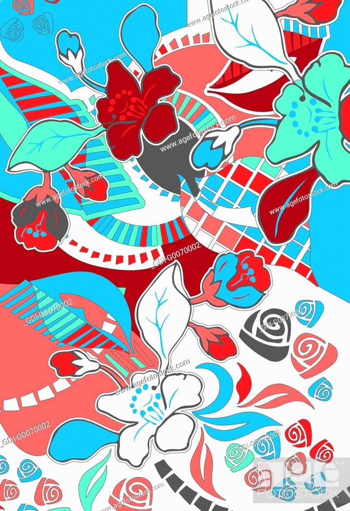 Imagen: Red, white and blue tropical flower design.