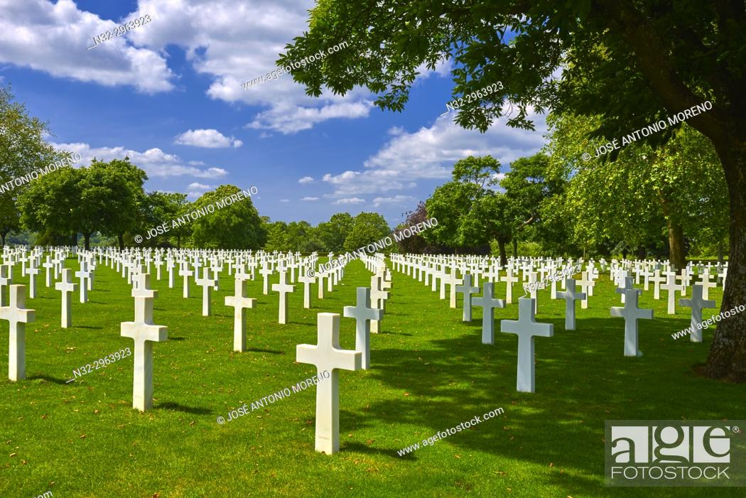 Stock Photo: St. James American cemetery, St. James, Manche, Normandy, France.
