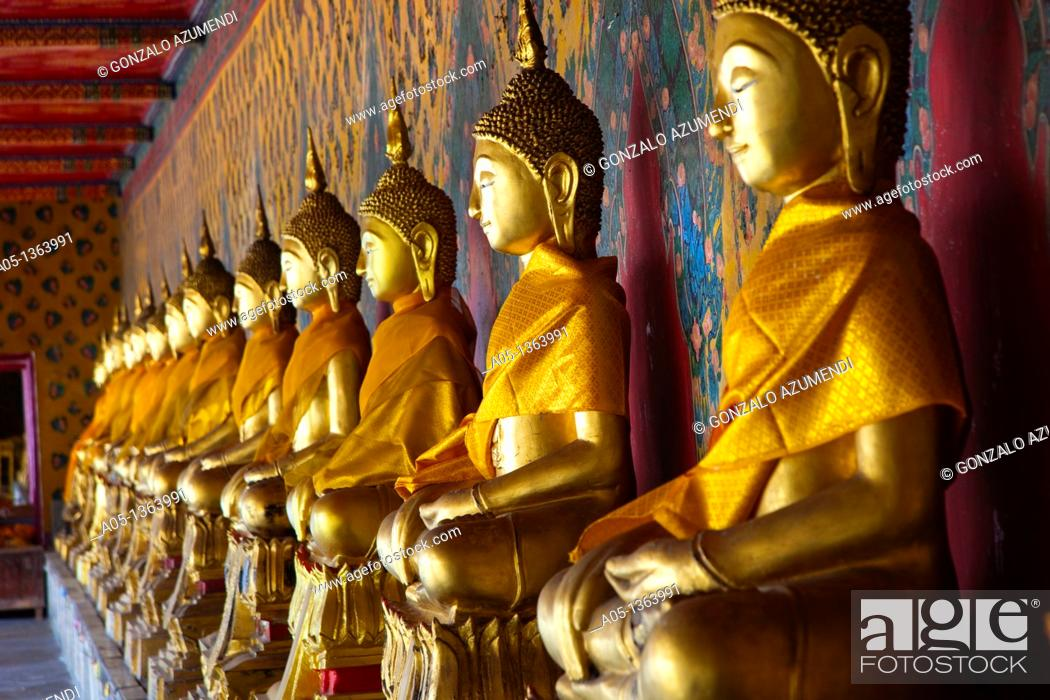 Stock Photo: The long line of golden Buddhas in Wat Arun, The Temple of the Dawn  Bangkok, Thailand, Southeast Asia, Asia.