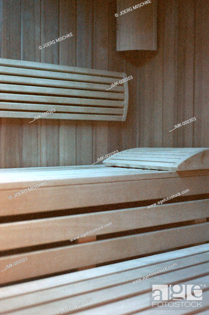 Stock Photo: Sauna cabin with a wooden bench.