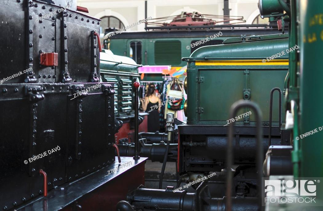 Stock Photo: A green wagon view in train museum, Madrid city, Spain.