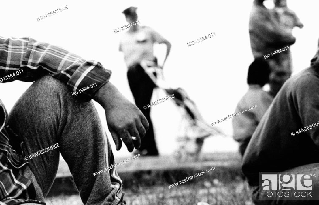 Stock Photo: People sitting in park.