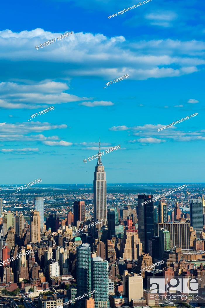 Stock Photo: Empire State Building aerial view, New York.