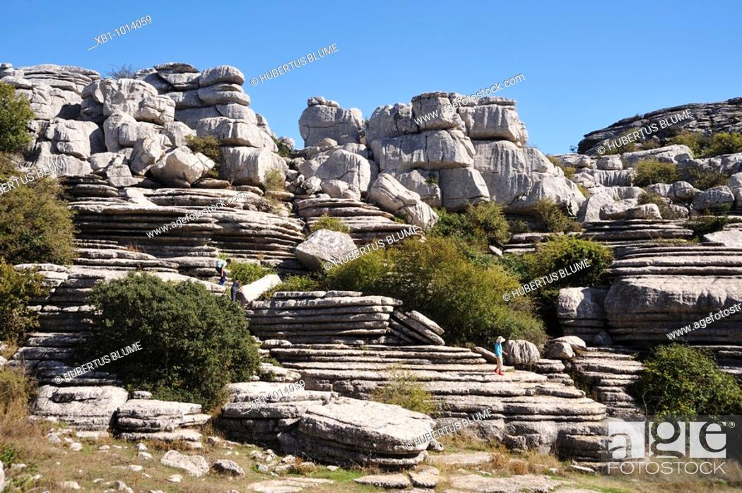Stock Photo: Natural park El Torcal, close to Antequera, province Malaga, Andalucia, Spain.