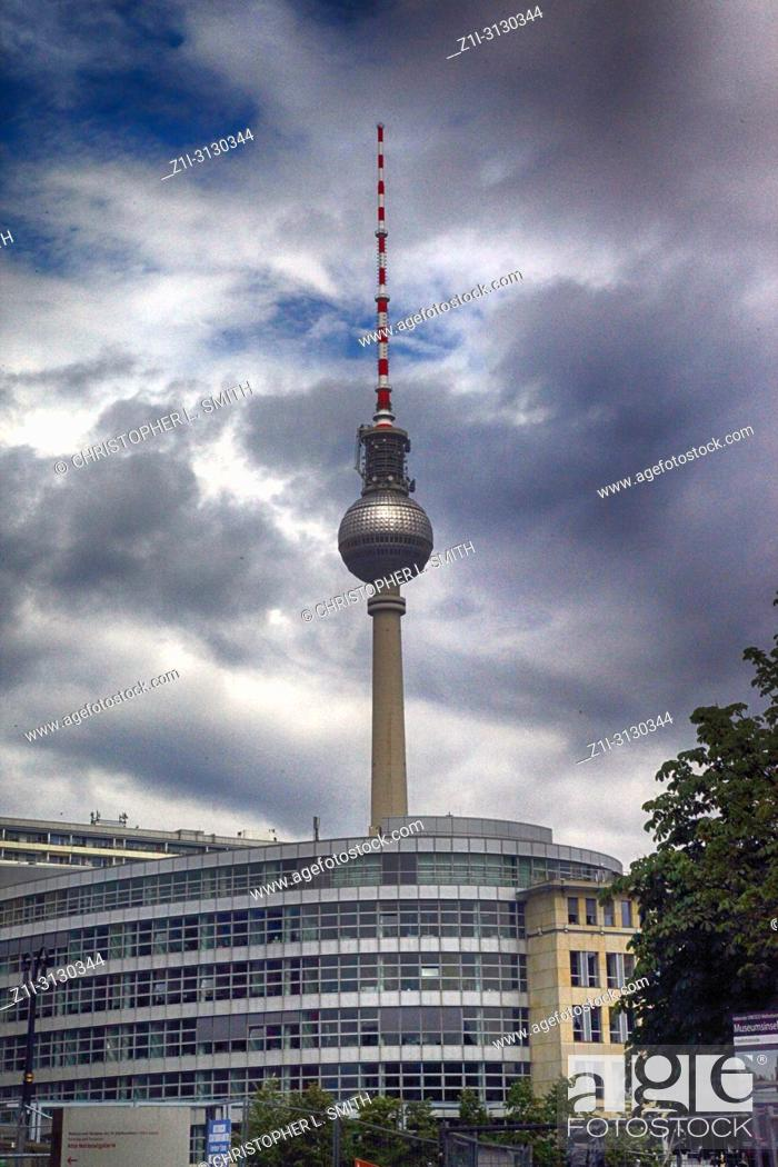 Stock Photo: View of the Berliner Fernsehturm tower in Berlin, Germany.