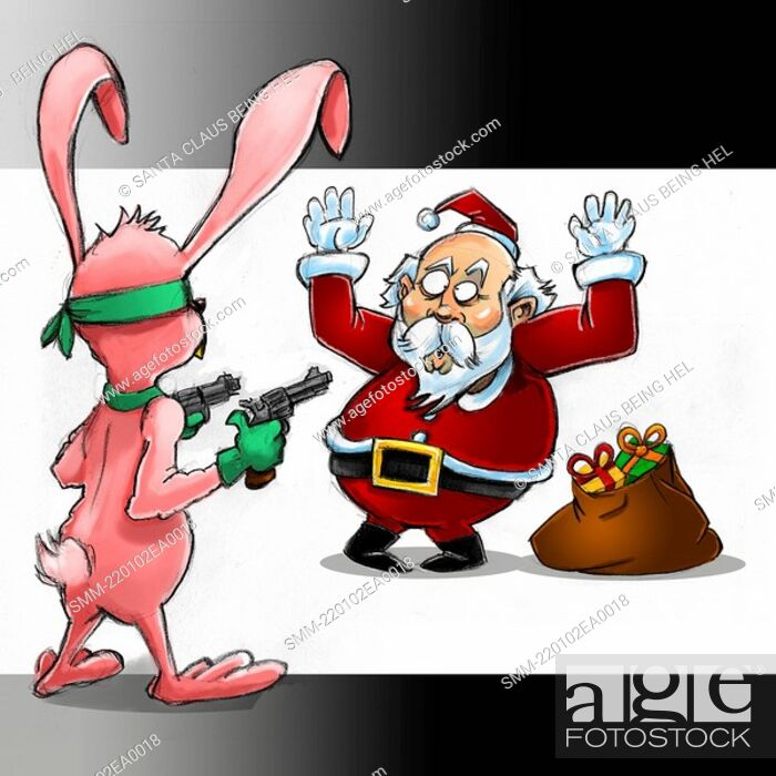 Stock Photo: Santa Claus being held up by a bunny rabbit.
