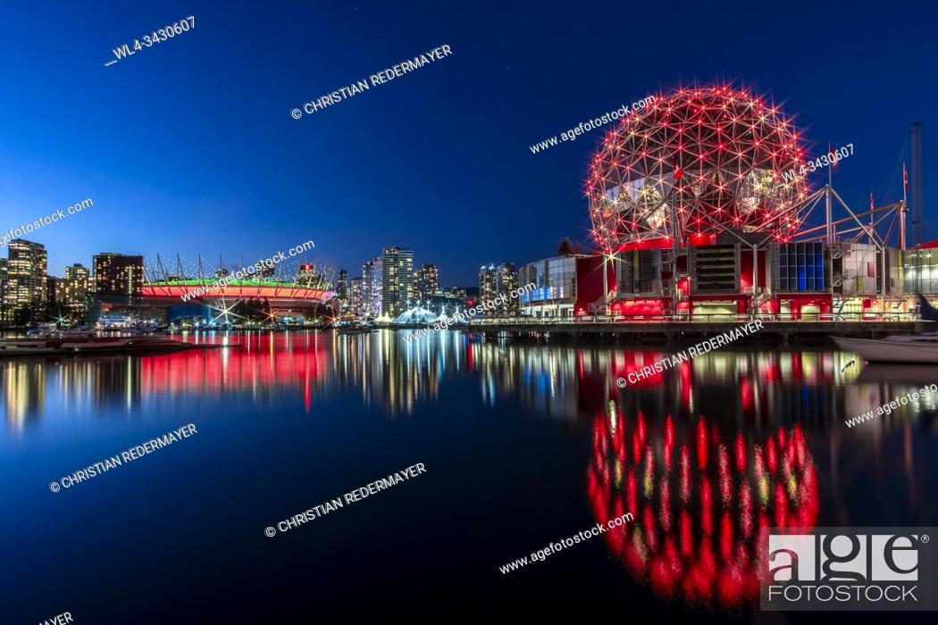 Stock Photo: Science World in Vancouver, British Columbia - Canada in front of the BC Stadium.