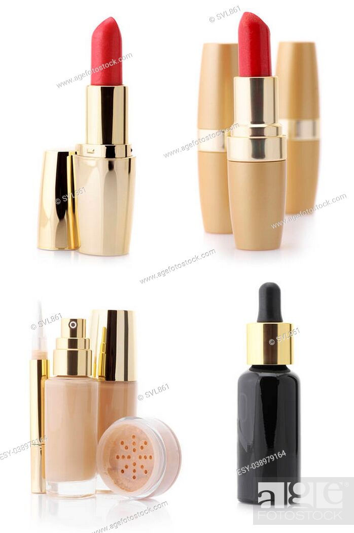 Stock Photo: Set of assorted cosmetic products isolated on white background: serum, foundation, concealer, powder and lipsticks.
