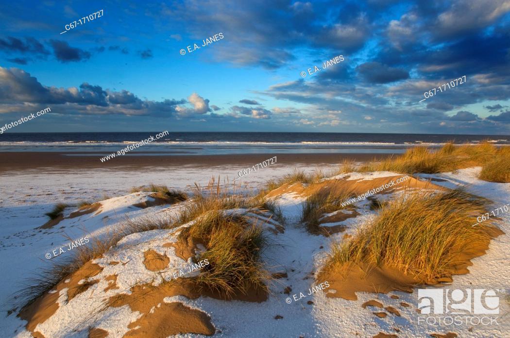 Stock Photo: Holkham Beach in snow Norfolk Winter.