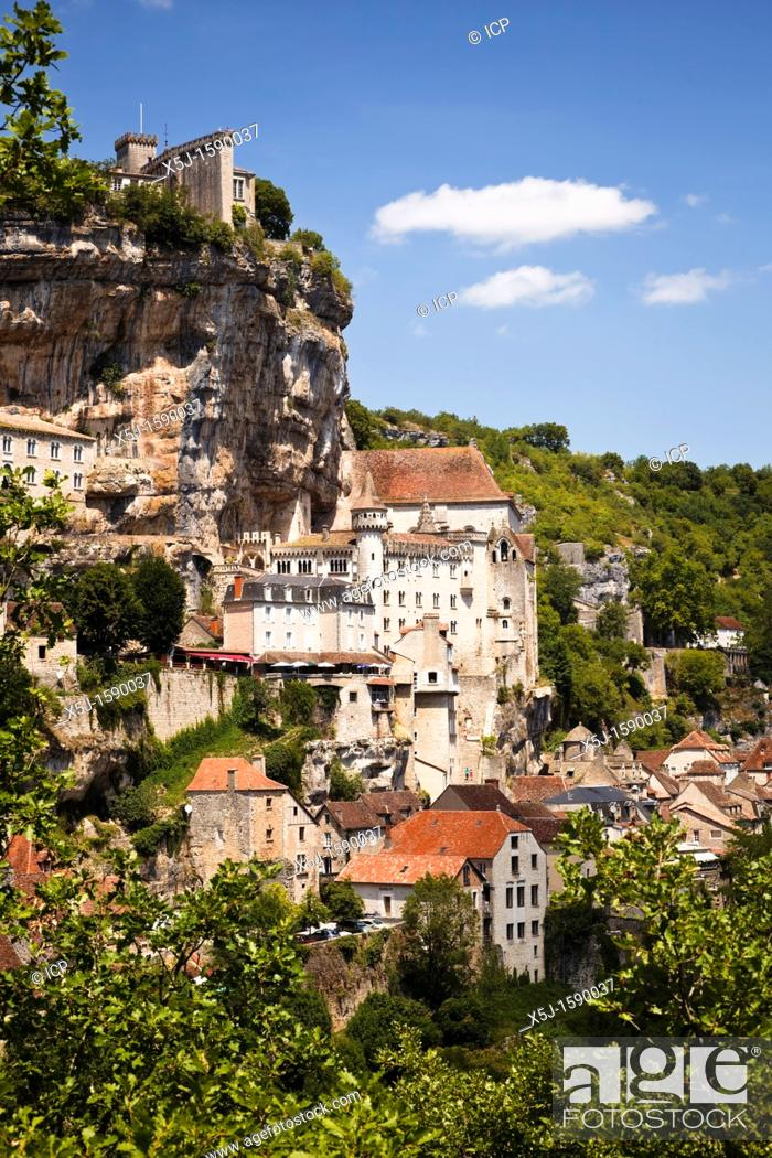 Stock Photo: Rocamadour in the Lot Region of France, Europe.