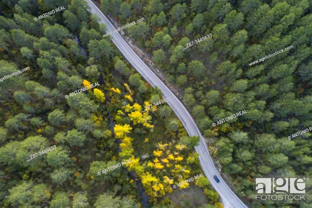 Stock Photo: Drone view. Monumento Natural Hoz de Beteta. Parque Natural de la Serranía de Cuenca, Cuenca province, Spain.